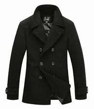 New Mens Classic Pea Wool Coat Jacket Black Dark Grey M883