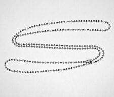 "STAINLESS STEEL BALL BEAD CHAIN Bracelet Dog Tags 4""-30"" #3 2.4mm Many sizes"