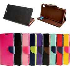 PU Leather Stand Flip Magnetic Wallet Case Cover For Sony Smart Phone + Stylus