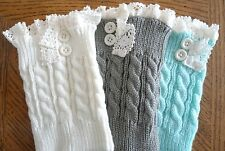 Boot Cuffs  Boot Toppers  Buttons & Lace  Ivory, Gray or Aqua Boot Cuffs  NEW