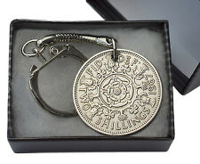 FLORIN / TWO SHILLINGS COIN KEYRING CHOICE OF YEAR 1947 TO 1967 PERFECT BIRTHDAY