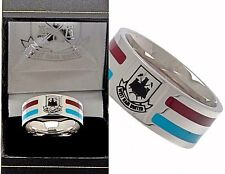 WEST HAM UNITED FC STAINLESS STEEL COLOURED STRIPE BAND  RING IN GIFT BOX