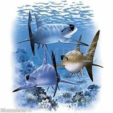 Sharks With Sunglasses Shark Group In Ocean Swimming Away White T Shirt - SALE