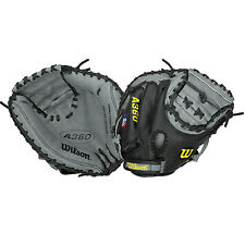 "New Wilson A360 Youth Baseball 32.5"" Catchers Glove Mitt 1/2 Moon Web RH LH Gy/B"