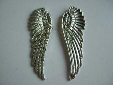 10/50 Pcs Antique Silver Carved Angel Wing Charms Pendant Necklace Findings