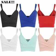 New Womens Ladies Plain Strappy Bra Crop Top Vest Tank Bralet Top 8-14