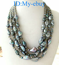 4Strands Black Blue Rainbow Oval&Baroque Freshwater Pearl&Crystal Necklace