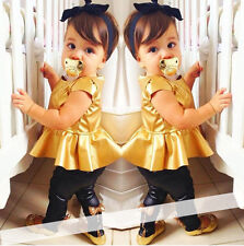 Fashion Baby Girls Kids Toddler Gold T-Shirt Dress Black Pants Trousers Outfits