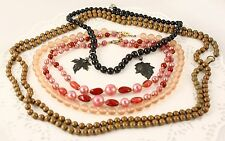 50s Pink, Black & Brown Bead Necklaces - 4 Piece Vintage Costume Jewelry Lot