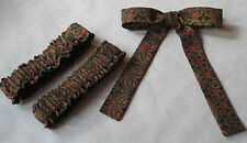 Western Cowboy String Tie-Arm Garters Set in Muted Green/Black/Red/Gold Print