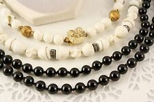 Black, White, & Gold - West Germany - 5 Vintage 1950s Retro Bead Necklaces - Lot