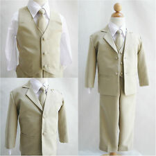 Boy khaki/taupe/white wedding party formal dress suit ring bearer all sizes