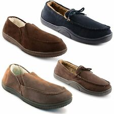 Mens Slippers Moccasin Loafers Faux Suede Sheepskin Fur Lined Shoes Size 7-12