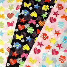Funky Patterned Floral Flowers Stars And Hearts 100% Cotton Fabric