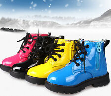 Kids Martin Boots Boys Girls Lace Up&Zipper Ankle Boots Waterproof Casual Shoes