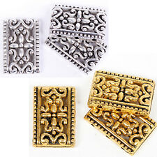 10/50 Pcs Findings Tibetan Silver 3-3 Hole Rectangle Spacer Beads 17x12mm