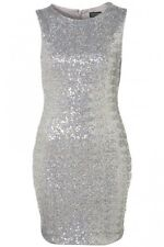 Topshop Womens Metallic Silver Foil Sequin Bodycon Glam Party Dress Sizes 8-14