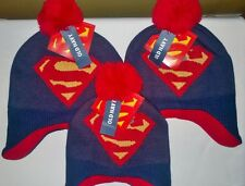NWT ~ Old Navy Toddler Boys Kids Superman Logo Blue Knit Winter Cap Hat Beanie