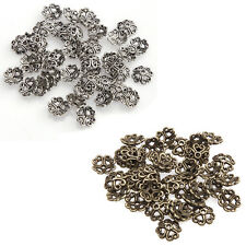 100pc Flower Bead Caps Retro Color Silver/Bronze Tone Finding 8mm