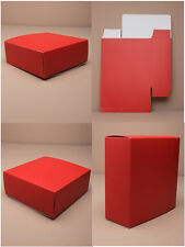 PACK OF 12 PLAIN MATT RED FLAT PACK GIFT BOXES : CHOOSE SIZE VALENTINES BIRTHDAY