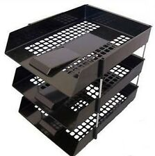 BLACK IN OUT LETTER TRAYS & RISERS FILING STACKING DESK ORGANISER STORAGE TIDY