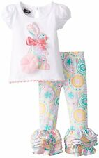 Mud Pie Girls Easter Spring Bunny Tunic & Ruffle Pant Set + Free HB