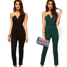 FASHION Womens SEXY Strapless V-Neck Jumpsuit Jumper Club Rompers Trousers XXS-M