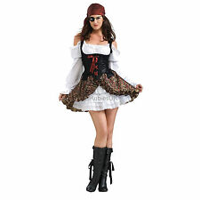 Womens Buccaneer Babe Rubies New Pirate Adult Ladies Sexy Fancy Dress Costume
