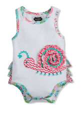 Mud Pie Easter Spring Colorful Snail Ruffle Bodysuit Crawler One Piece