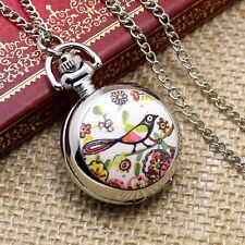 HOT MINI Enamel Silver Metal Quartz Pocket Watch Necklace Pendent Girl Gifts
