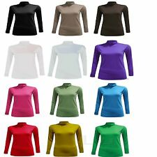 WOMEN LADIES LONG SLEEVE POLO NECK ROLL NECK TOP TURTLE NECK PLAIN JUMPER 8-26