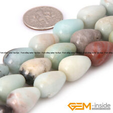 "Natural Colorful Amazonite Stone Drop Beads For Jewelry Making Strand 15"" YB"