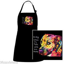 Colorful Abstract Pitbull Puppy Dog Tail Wag Quote Black Chef Designs Bib Apron