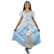 GIRLS BLUE PRINCESS COSTUME SCHOOL BOOK WEEK FANCY DRESS BALL GOWN AND HEADBAND