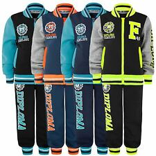 KIDS VARSITY TRACKSUIT JOGGING BOTTOMS ZIPPED TOP 2 PIECE SUIT BOYS GIRLS 3-14Y