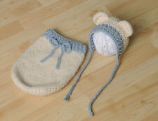 Newborn/BabyBear Hat with Swaddle Sack Photography Props