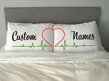 PERSONALISED HEART Pillow Case  Gift Valentine's Day Wedding Made to Order m38