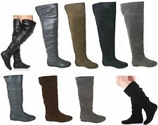 WOMENS LADIES FLAT CUFF OVER KNEE MID CALF PULL ON PIXIE SLOUCH BOOTS SIZE 3-8