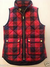 J. Crew Excursion Quilted Vest In Buffalo Check NWT Color: Red Navy Size: XXS-L