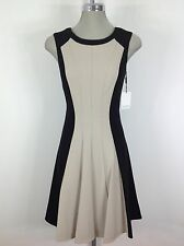 Calvin Klein NewWT Black Khaki  Dress with Flare bottom Awesome Nice Silhouette