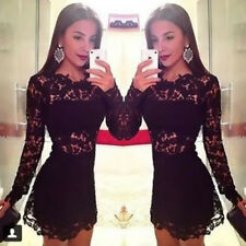 Women's Long Sleeve Crew Neck Hollow Lace Floral Print Sexy Cocktail Mini Dress