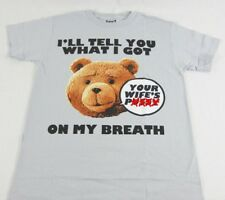 Mens NEW Ted Movie T-Shirt Gray I have Your Wifes P***y on My Breath Tee Sz S-XL