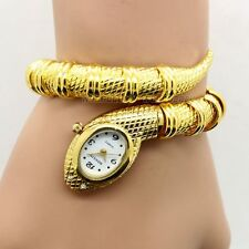 Golden Silver Snake Steel Bracelet Diamond Bangle Women Girl Quartz Wrist Watch