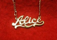 14KT GOLD EP 2MM FIGARO ANKLET OR NECKLACE WITH ALICE CHARM PENDANT