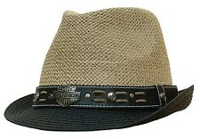 HARLEY DAVIDSON STRAW FEDORA TRILBY BLACK TAN OUTBACK STINGY HAT MOTORCYCLE CAP