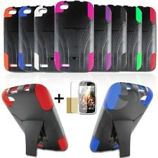 Hybrid Plastic Silicone Armor Cover Case T-Stand For BLU Life Play L100A Phone