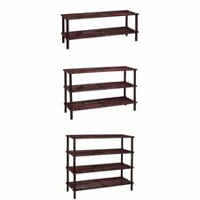 2 3 4 Tier Slated Shoe Rack Oak Wooden Storage Stand Organiser By Home Discount
