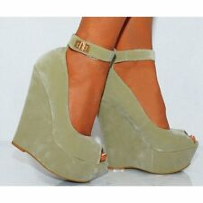 WOMENS BLUE BEIGE WEDGED PLATFORMS WEDGES HIGH HEELS ANKLE STRAP PEEP TOES SHOES