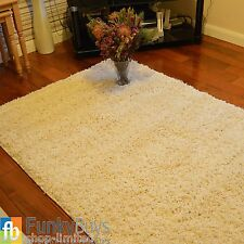 SMALL EX-LARGE CREAM/IVORY THICK PLAIN SOFT SHAGGY RUG NON SHED PILE MODERN RUGS