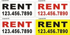 2ftX4ft Custom Printed (For) RENT Banner Sign with Your Phone Number